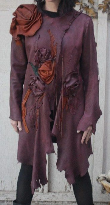 (by showdiva) Dramatic Asymmetrical Leather Coat with Hand Sculpted Garden Flowers and Vines