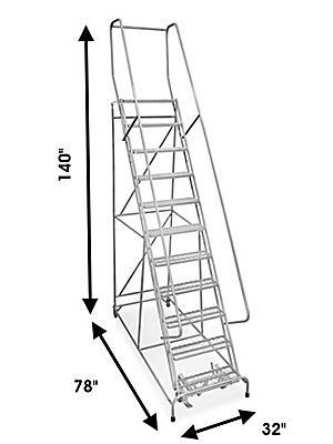 "11 Step Rolling Safety Ladder - Assembled with 10"" Top Step H-844-10 - Uline"