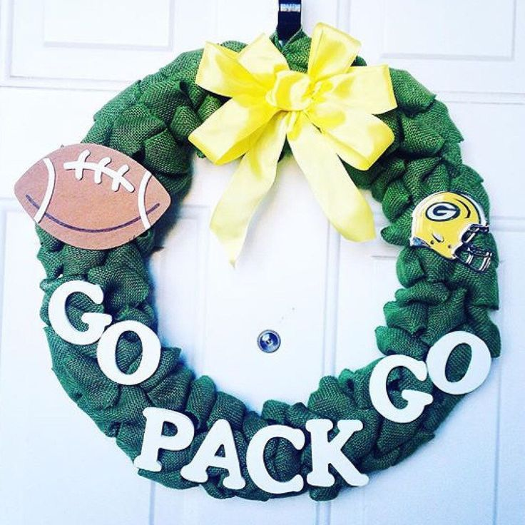 Anyone cheering on the Packers in today's NFL pre-season game? This super cute Green Bay Packers wreath is available in my Etsy shop now!