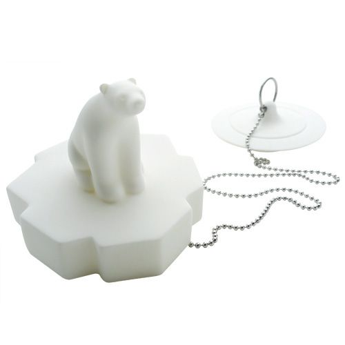 Polar Bear Drain Stopper - the Polar Bear floats on the bath's surface!