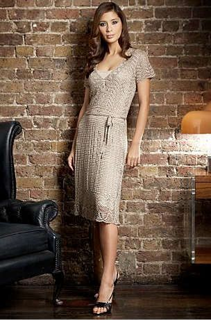 So pretty! I love the V-neck line and simple skirt with lace edging.                                          Lovely beige pieces .....   ...