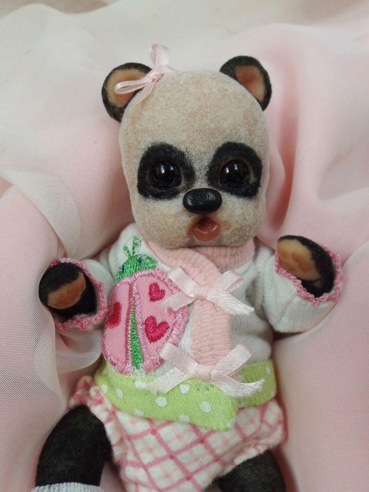 OOAK Baby Panda Teddy Bear Mini Art Doll #HandsculptedPolymerArtDoll