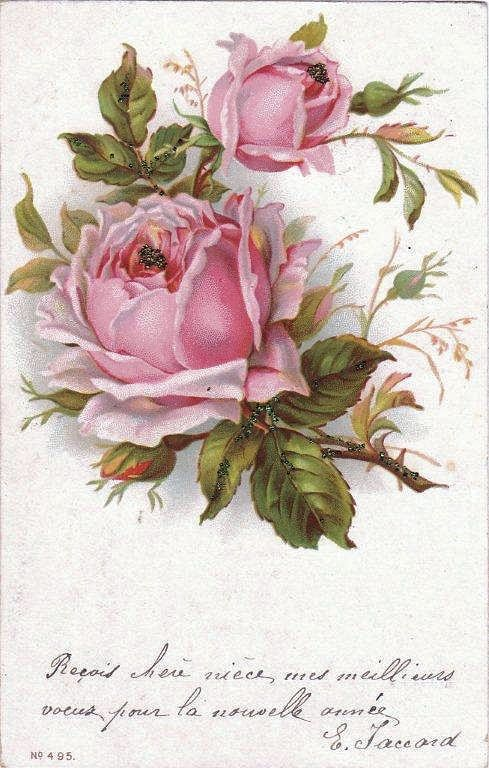 Vintage Clip Art - French Roses Postcard - The Graphics Fairy