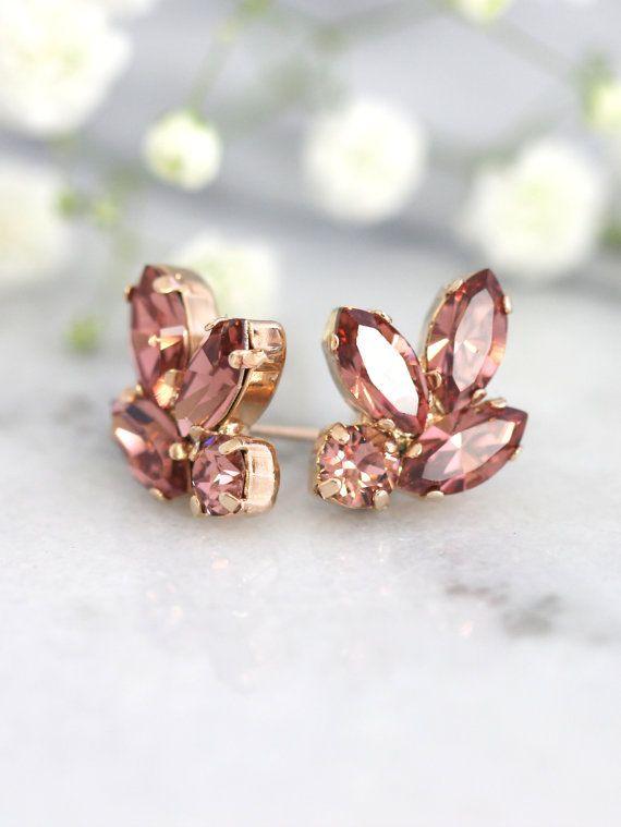 Blush Bridal Earrings Bridesmaids Blush Earrings by iloniti