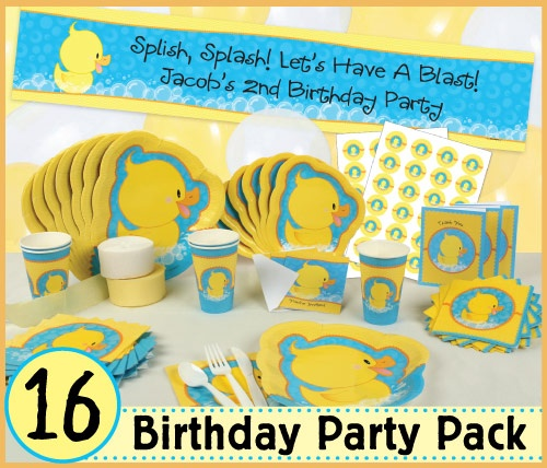 Ducky Duck Party Pack for 16 Guests 1st Birthday Party Themes; First Birthday Party Supplies