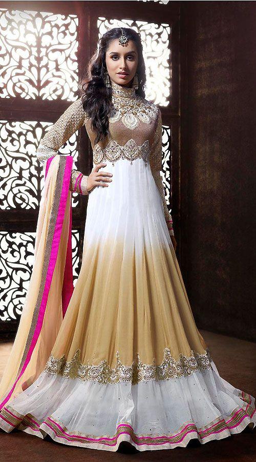 Shraddha Kapoor White Georgette Bollywood Salwar Kameez