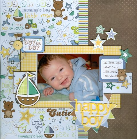 Happy boy - Scrapbook.com - This little guy is one happy camper and his gorgeous face just pops off the page of this great layout. #scrapbooking #baby #imaginisce