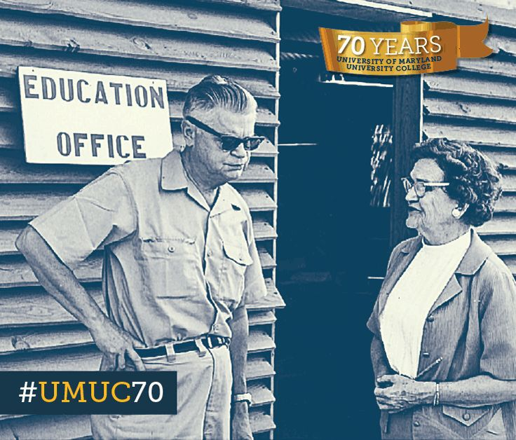 #ThrowbackThursday to 1967 with former UMUC president Ray Ehrensberger and education services officer Maude Burris at Long Binh army post in Vietnam. #umuc70