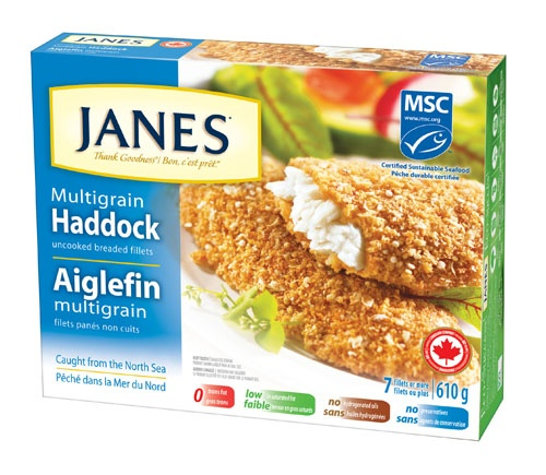 Janes - Thank Goodness! Whole Haddock fillets seasoned with onion, garlic and lemon, then coated with rolled oats, rye flakes, quinoa and wheat. For a quick grab n' go meal, try as a BLT Fishwich - it's a yummy alternative to high fat fast foods! #product #fish