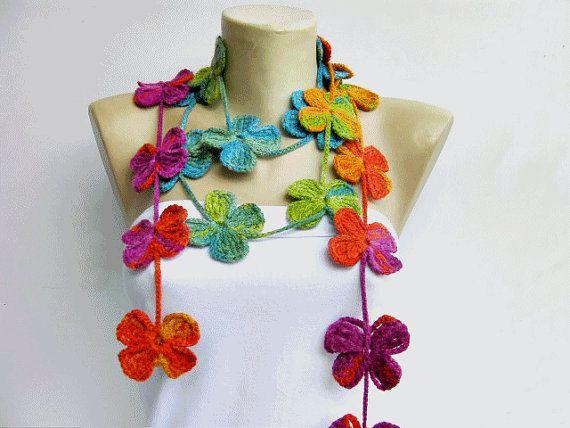 crochet lariat flower scarf by SenaShop on Etsy, $25.00