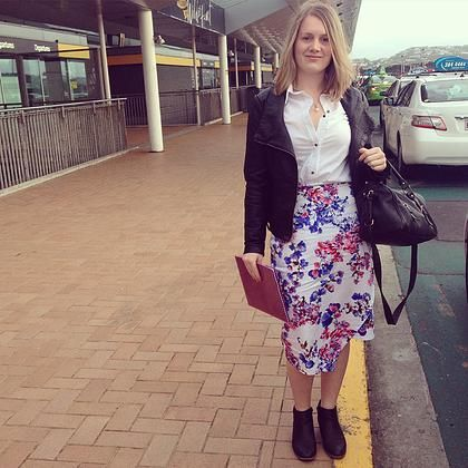 High waisted floral skirt with asymmetrical hem. Gorgeous work outfit when paired with a white shirt, leather jacket and ankle boots.  Confidence Skirt by Desiree   Buy Online