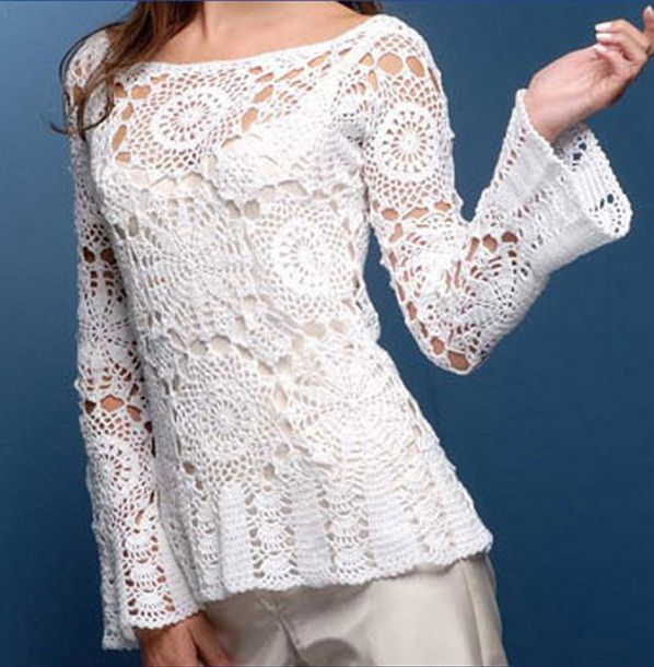Blusa Branca Motivos (4 fotos) Meninas Olhem que Espetáculo de Blusa Feita em Crochê com vários Motivos de Gráfico! Uma M-A-R-A...M...