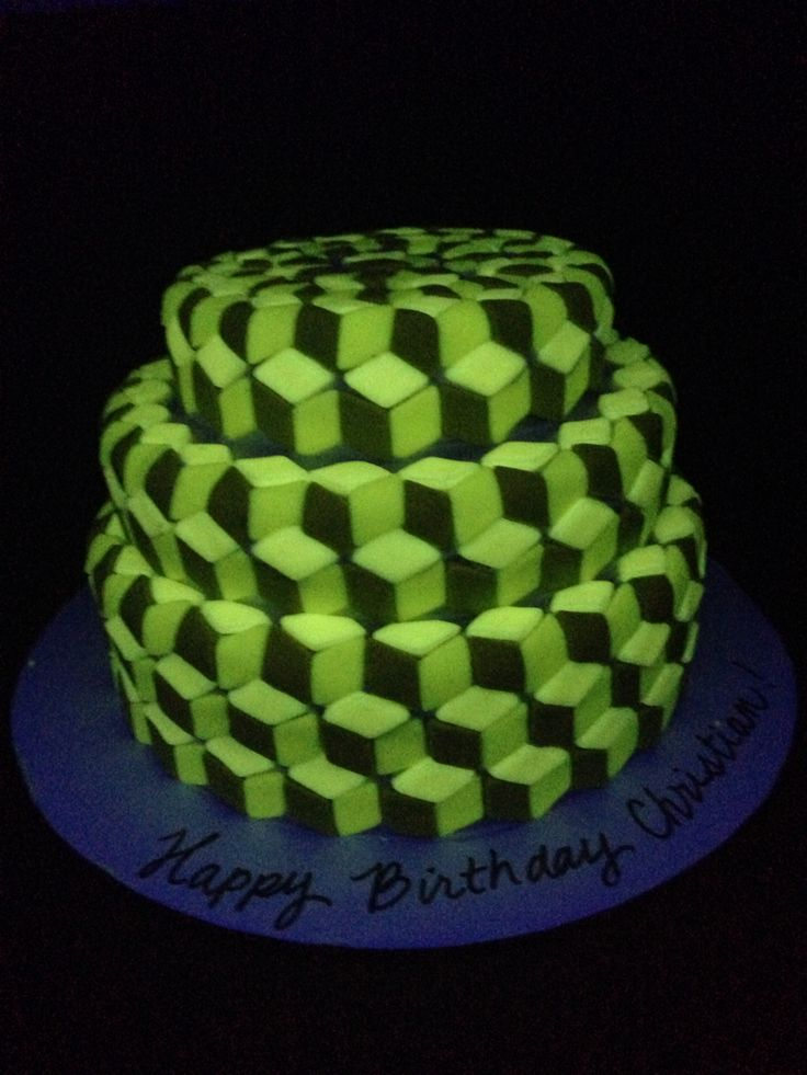 EPIC black light responsive 3D optical illusion cake for Teenager Birthday Party!  I added 1/2 tsp Vitamin B-2, 1/4 c tonic water and 2 TB Crisco to fondant to make it glow.