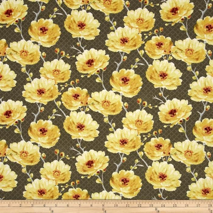 Sunshine Medium Floral Medium Gray from @fabricdotcom  Designed by Lisa Audit for Wilmington Prints, this cotton print fabric is perfect for quilting, apparel and home decor accents. Colors include shades of grey, shades of yellow, white and orange.