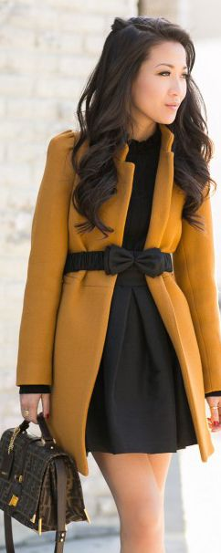 Love the deep mustard color of this coat, in contrast with the chocolate belt and dress.