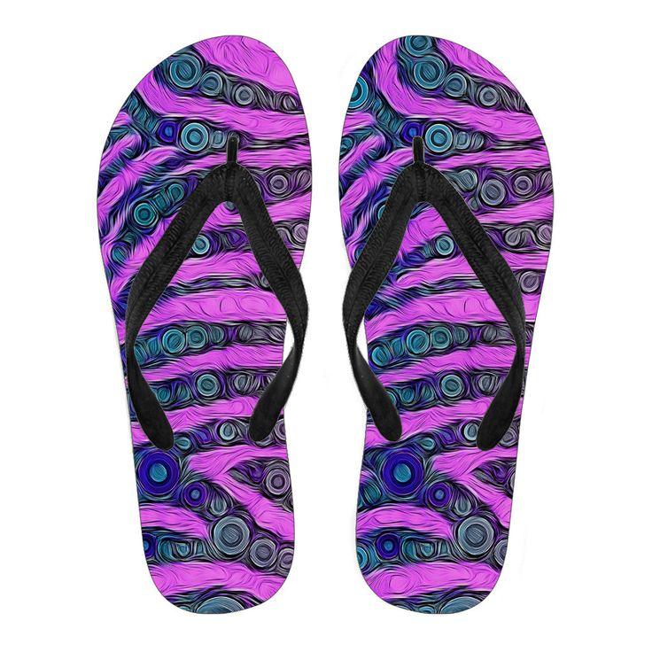 Purple Zebra Print Pattern Flip Flops