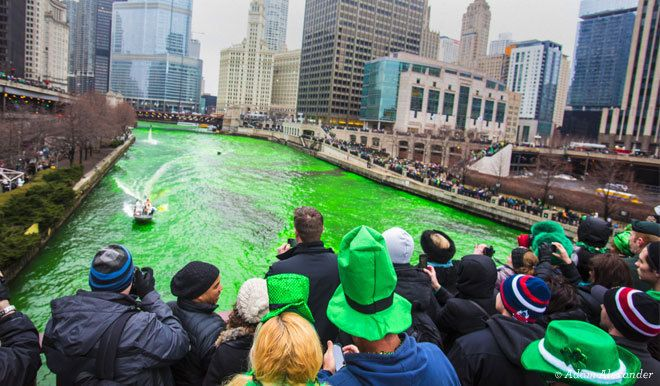 Chicago St. Patrick's Day Celebrations....Chicago River dyed green
