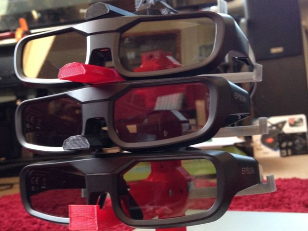 OpenSCAD Modular Glasses Stand for bedside table or 3d TVs / Projectors by Razor2000 - Thingiverse