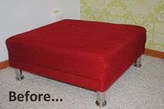 "Before & After: Laura's ""Simple & Cheap"" Ottoman Redo"