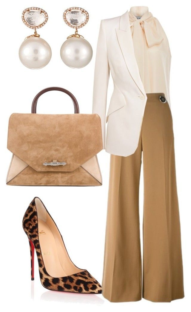 Important Meeting by arta13 on Polyvore featuring polyvore fashion style  Prabal Gurung Alexander McQueen STELLA McCARTNEY · Cream PantsTan Pants Elegant ...