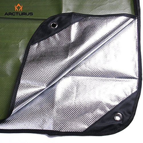 """Arcturus All Weather Outdoor Survival Blanket - All Purpose, Thermal, Reflective, Emergency - 60"""" x 82"""" (Olive Green). For product & price info go to:  https://all4hiking.com/products/arcturus-all-weather-outdoor-survival-blanket-all-purpose-thermal-reflective-emergency-60-x-82-olive-green/"""
