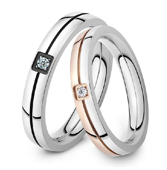 Fashion titanium steel couple diamond ring - USD $39.95