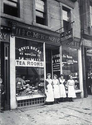 Keywords: bakers' shops, C McKenzie & Son, cakes, cash tills, Cytos Bread, employees, Hovis, ladies' rooms, ladies' toilets, scones, shop windows, tea rooms, waitresses, women