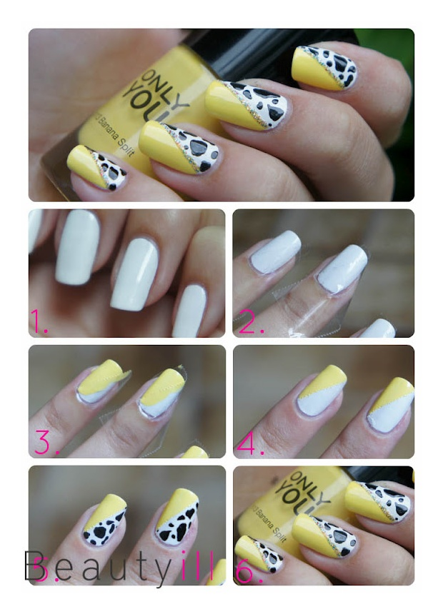 DIY nailart Holland, Yellow Cow ~ Beautyill | Beautyblog met nail art, nagellak, make-up reviews en meer!