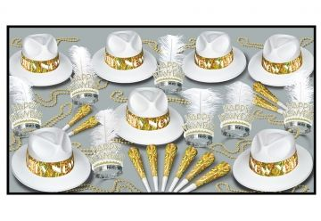 """This assortment for 50 people includes: 25White Velour Fedoras Hats with prismatic band, 25 Glittered Plumed Tiaras, 50 9"""" Prismatic horn, 25 33"""" Party Beads"""