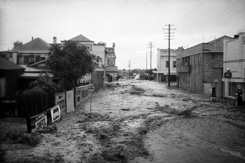Flooded street during the Maitland Flood, 1955: Lucey Collection