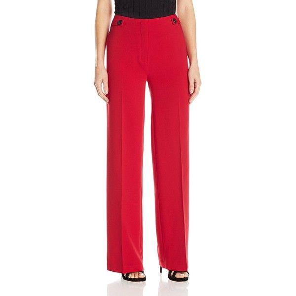 Ellen Tracy Women's Wide Leg Trouser ($38) ❤ liked on Polyvore featuring pants, ellen tracy pants, wide-leg pants, red trousers, red wide leg trousers and ellen tracy