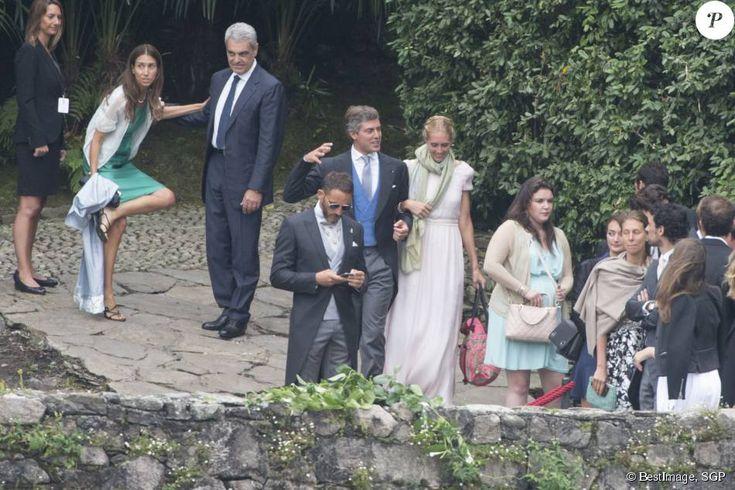 Le prince Antonius de Fürstenberg, sa femme Matilde Borromeo, Mélanie-Antoinette de Massy, guests - Arrivées au mariage religieux de Pierre Casiraghi et Beatrice Borromeo sur les Iles Borromées, sur le Lac Majeur, le 1er août 2015.