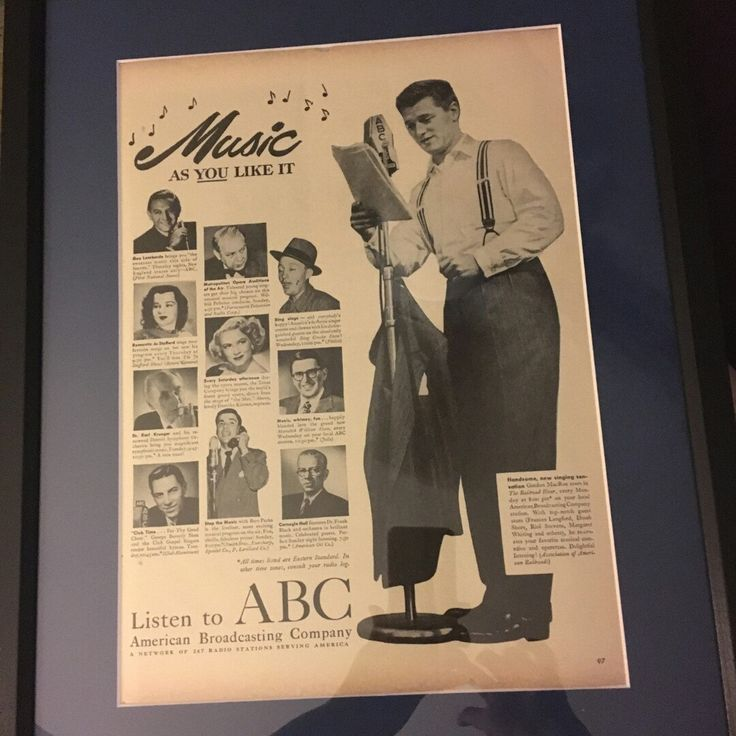 Wow! A happy customer sent a cool photo of one of our vintage ads once matted, framed and ready to gift. This 1949 American Broadcasting Company ad is going to her boyfriend who works at ABC! Featuring Guy Lombardo, we have his 1930s sheet music in stock!