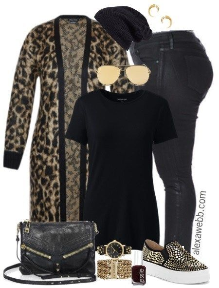 Plus Size Leopard Cardigan Outfit - Plus Size Fall Winter Outfit Idea - Plus Size Fashion for Women - alexawebb.com #alexawebb #plussize #outfit