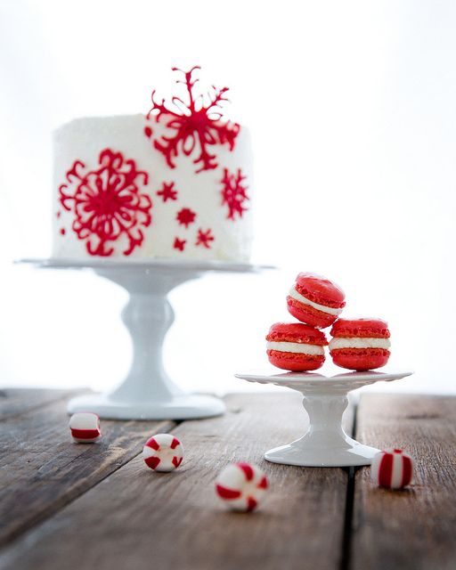 Red and white macarons stacked up and put into see through bags would make a lovely addition to your winter wedding table tops.
