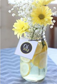 flowers cute idea for centerpiece for baby shower!