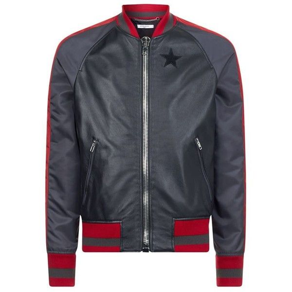 Givenchy Leather Bomber Jacket (€2.090) ❤ liked on Polyvore featuring men's fashion, men's clothing, men's outerwear, men's jackets, mens red leather jacket, mens leather jackets, givenchy mens jacket, mens leather bomber jacket and g star mens jacket
