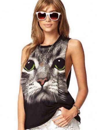 Black Sleeveless Cat Printing Round Neck Sexy Vest Pattern T-Shirt