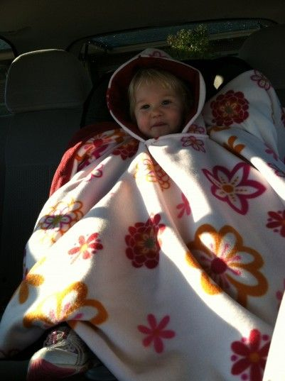 Car seat poncho, SAFE alternative to wearing a coat or snowsuit in the carseat! Doesn't mess with the straps and kids can take it off if they get too warm.