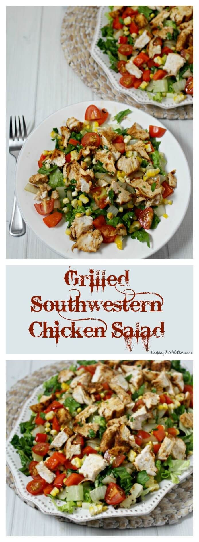 Grilled Southwestern Chicken Salad brings the flavor with spice rubbed chicken, grilled veggies, crisp romaine lettuce & drizzled with a honey lime vinaigrette. This will be your go-to summer salad | Cooking In Stilettos ~ http://cookinginstilettos.com