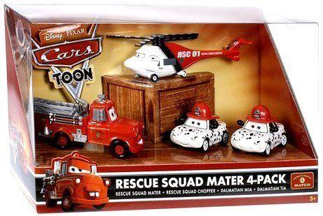 Disney / Pixar CARS TOON 1:55 Die Cast Car Rescue Squad 4 Pack #2 (Firetruck Mater, Rescue Chopper, Dalmatians Mia and Tia). #Disney #Pixar #CARS #TOON #Cast #Rescue #Squad #Pack #(Firetruck #Mater, #Chopper, #Dalmatians #Tia)