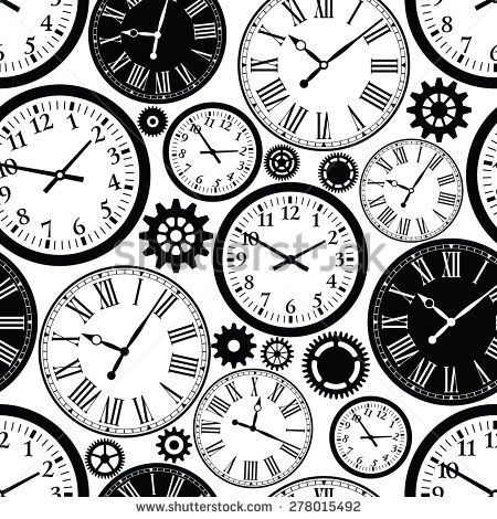 Clock`s seamless pattern. Black and white texture of time.