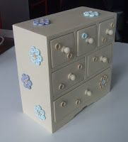 Mini chest-of-drawers hand painted in acrylic and decorated with buttons.