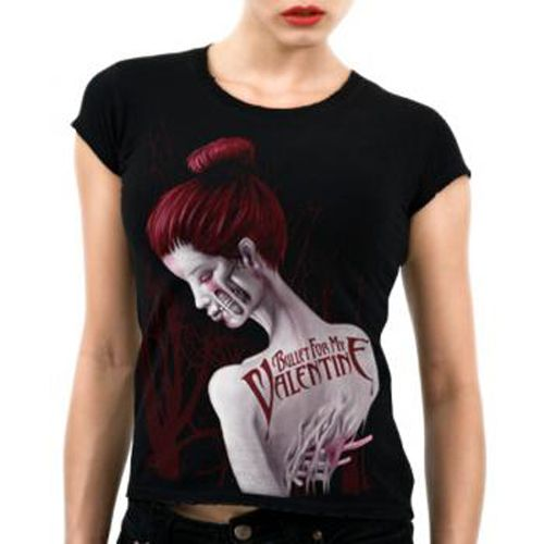 Official Bullet For My Valentine babydoll Tee features Dead Red design on front.  Get yours here:  http://heavymetalmerchant.com/product/bullet-for-my-valentine-dead-red-babydoll-shirt