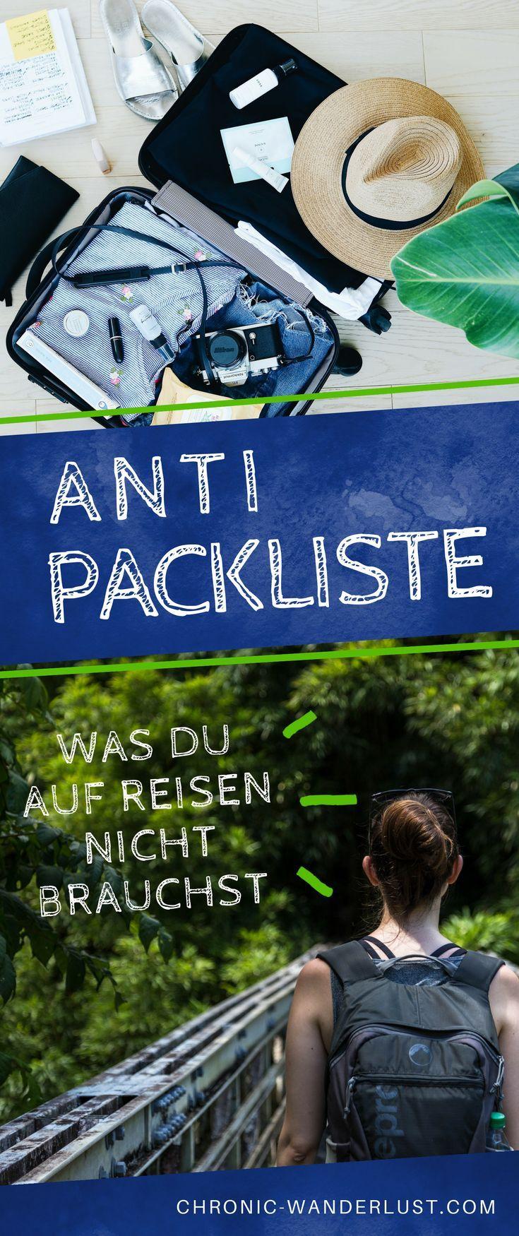 Eine Anti Packliste - mit all den Dingen, die du auf deiner Reise nicht brauchen wirst. So wirst du vom Überpacker zum Packprofi! #packen #packliste #antipackliste #reisen #reise #reisetipp