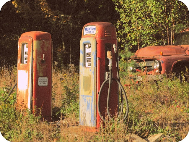 rusty old gas pumps