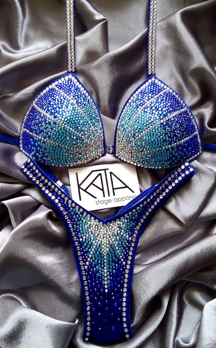 KATA Stage Apparel — ARIELLA Figure/Physique competition suit blue ombre