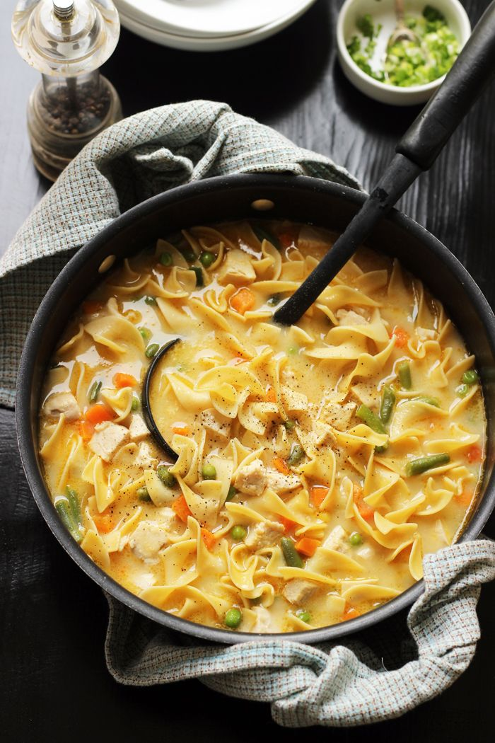 Get cozy this season with a bowl of this Creamy Chicken Noodle Soup. It comes together quickly with just five basic ingredients.