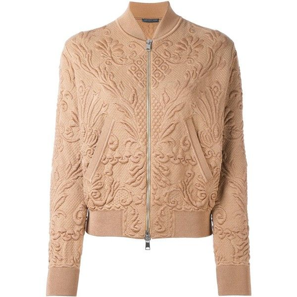 Alexander McQueen textured jacquard bomber jacket ($2,030) ❤ liked on Polyvore featuring outerwear, jackets, alexander mcqueen, bomber jacket, tops, brown, jacquard jacket, brown bomber jacket, stand collar jacket and flight jacket