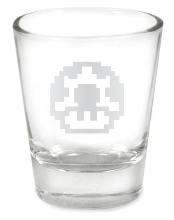 1 Up Super Mario Brothers Mushroom Nintendo NES Custom Etched Shot Glass